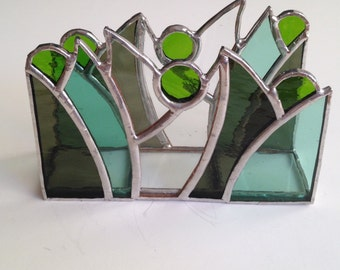 Spring vertical napkin holder, Stained glass napkin holder