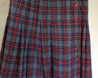 Wool Pleated Plaid Skirt - Grey, Navy and Red