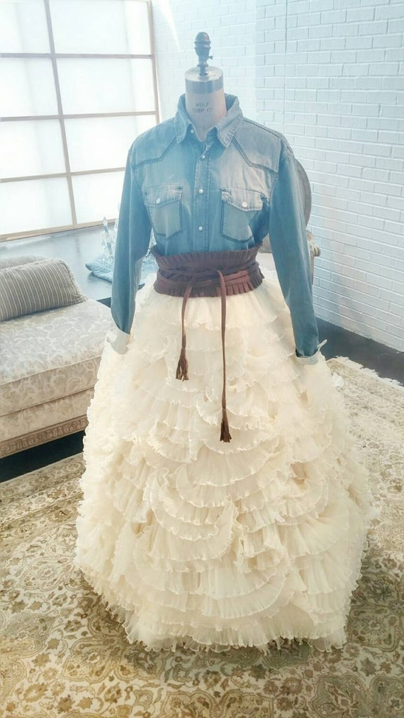 Country chic unique wedding dress ruffled by idocouturebridal for Country chic wedding dress