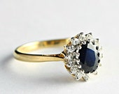 Sapphire and diamond alternative ring set in 9 carat gold vintage engagement ring for her 1980's