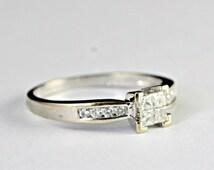 Princess cut diamond engagement wedding ring in 18 carat white gold vintage