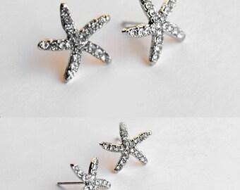 Gold/Silver Crystal Rhinestone Star Starfish Ear Studs Earrings