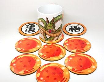 DBZ - Dragon balls coasters  Dragon ball Kai Goku Roshi King Kai symbols