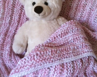 """Baby Blanket 29"""" x 33"""", Knitted"""