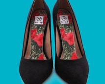 Vintage Hibiscus Airpufs. Marshmallow foam super soft insoles, Pink Florals shoe insert and accessory