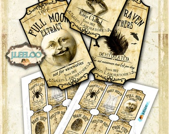 SCARY APOTHECARY printable tags label - poison bottle jar labels Halloween instant download printable images - digital collage sheet - tl151