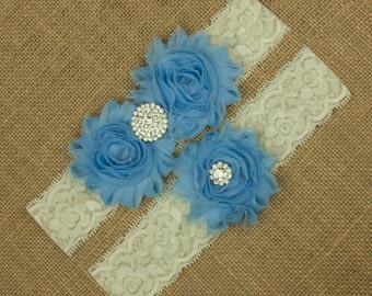 Something Blue, Bridal Garter, Blue Wedding Garter, Blue Garter Set, Lace Wedding Garter, Blue Flower Garter, Bridal Garter Belt, SCIS-B05