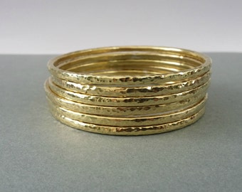 Gold Stacking Bangles, Raw brass bangles, hammered bangle set