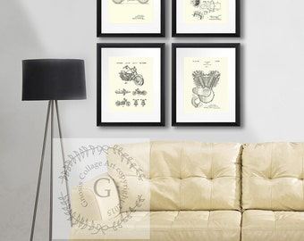 Vintage Harley Home Decor posters Harley set 4A set of 4 Cream, Beige wall art, Patent Art Prints, Biker Decor. Man cave Decor, Gift for him
