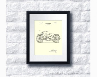 Harley Davidson Motorcycle Patent Art Poster no.A1 Wall Art Print, Harley Home Decor, Harley Gift Idea, Gift for him, Gift for Biker