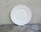 Vintage porcelain dinner plate with blue polka dots - kitchen decor cottage plate - midcentury vintage dinnerware