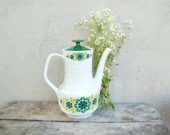 Vintage German MITTERTEICH white porcelain teapot coffeepot with green floral pattern - 1960's kitchen decor - tea party - original vase