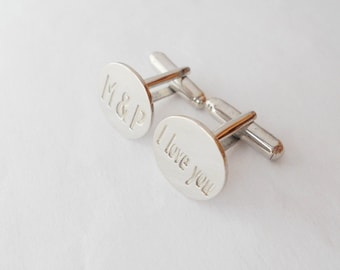 Personalized Wedding Cuff links,Initials and I Love You Cufflinks,White Gold Cufflinks for Groom,Engraved Cufflinks,Monogram Cuff Links,