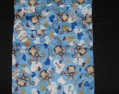 Wet Bag with 2 Zippered Compartments - Blue Monkey Print