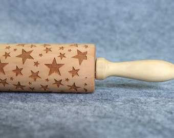 Star Engraved Embossing Rolling Pin, Wood Rolling Pin, Cookie - by Melodywoodart