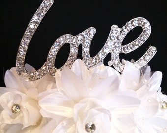 LOVE Real Rhinestone Cake Topper Wedding Anniversary Special Occasion