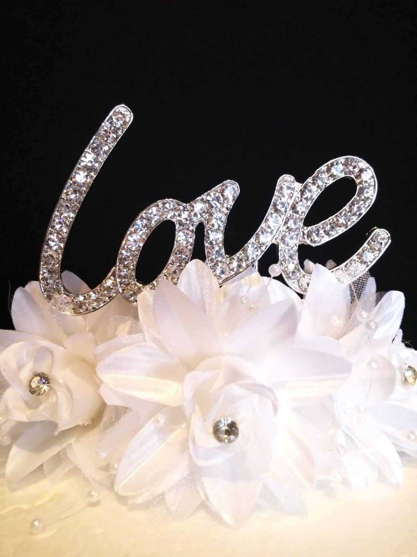 LOVE Real Rhinestone Cake Topper Wedding Anniversary Special