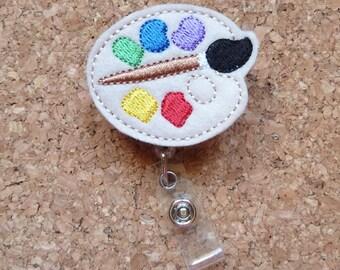 Paint Badge Reel -  ID Badge Reel - Felt Badge Reel - Lanyard - Retractable Name Holder - Art Teacher Gift -  358