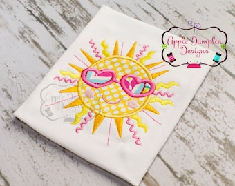 Shining Summer Sun Appliqué Embroidery Design, Smiling Sun, Beach, Summer, Spring, Girly, Girl,  5x7, 6x10, 9x9