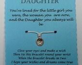 Wish Bracelet, Daughter gift, Daughter bracelet, Charm bracelet, String Wish Bracelet, Cord Wish Bracelet, Keepsake Card, Daughter card