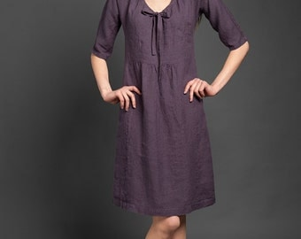 Washed Linen Dress in dark aubergine purple, 100% flax pure linen clothing for women, XXL plus sizes