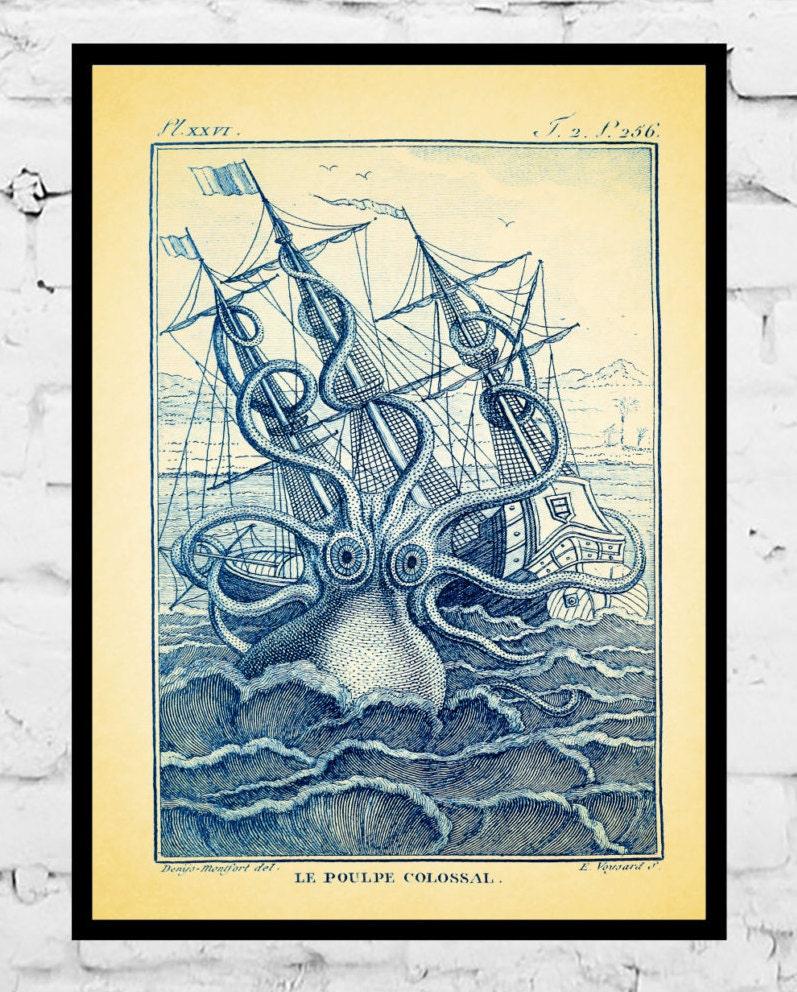 Octopus Print, Octopus Wall Art Print, Kraken Illustration, Beach House Art,  Nautical Decor, Squid Picture,Giclee Print, Octopus Poster
