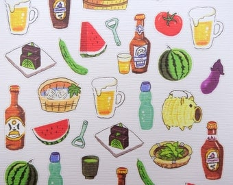 Japanese summertime food & drinks chiyogami paper stickers - fruits - vegetables - ramune soda - beer - watermelon - matcha - Katori Buta