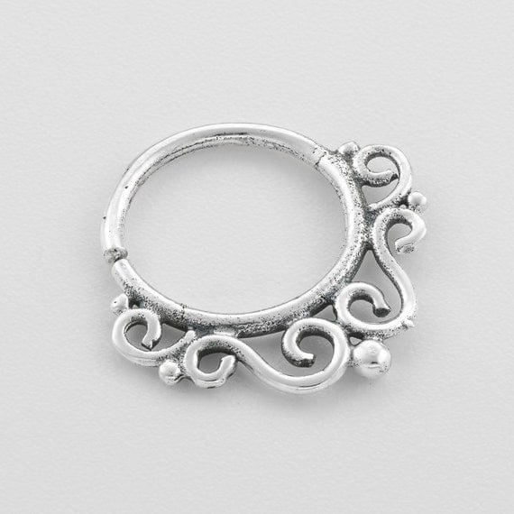 Tribal septum ring septum jewelry indian by umanativedesign - Decorative septum jewelry ...