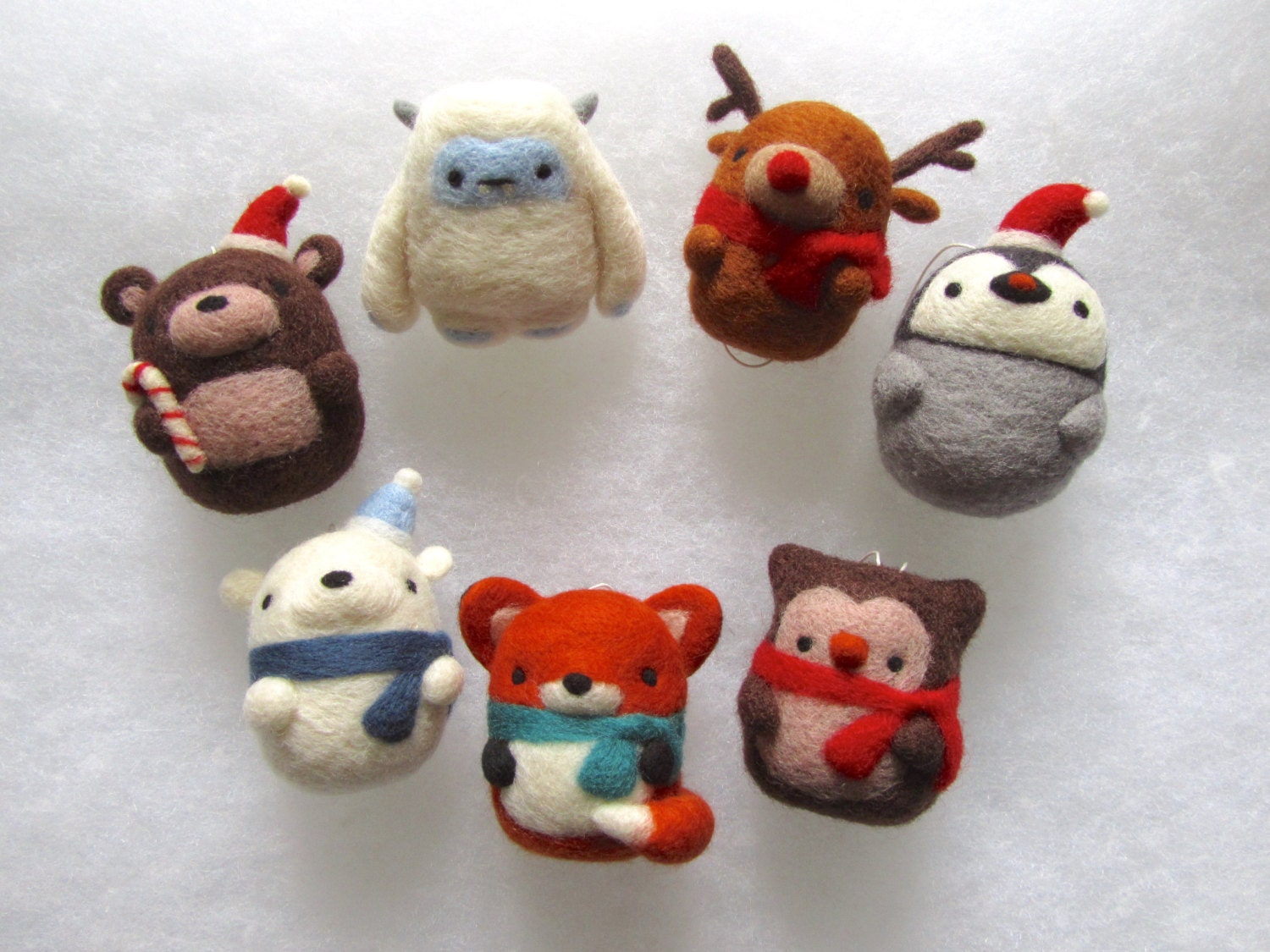 Christmas decorations set of 7 needle felted by for Cute christmas decorations