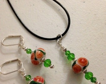 Lampwork Glass Bead Floral Design with green crystals Matched Set