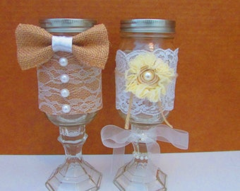 Wedding His and Hers Mason Jars,Mr and Mrs Mason Jar,Bride and Groom Mason,Jars,Wedding Glasses,Mason Jars,Burlap,Wedding,Rustic, Mr and Mrs