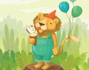 Lion's Birthday - Children's Illustration A3 Print