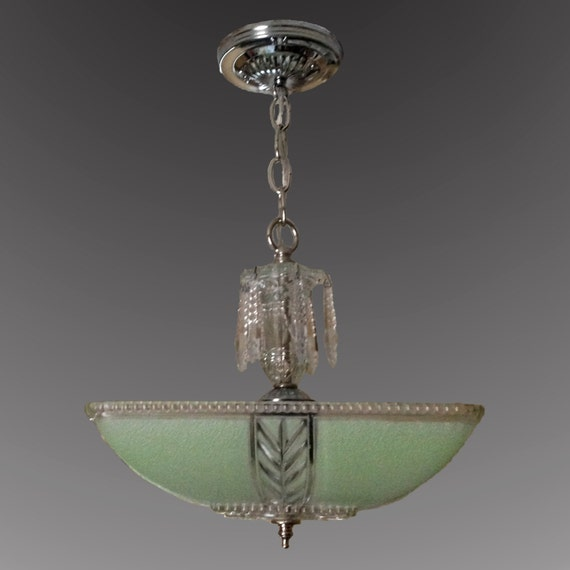 Vintage Green Glass Light Fixture: Mint Green Square 1930's 1940's Glass Shade Vintage