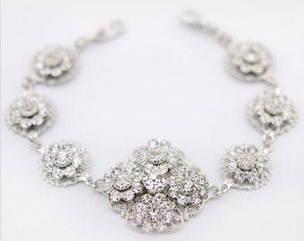 Vintage style crystal filigree wedding bracelet - vintage style rhinestone bridal bracelet - statement wedding jewelry - Valencia bracelet