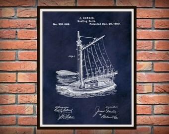 Patent 1880 Sailboat Reefing Sails - Art Print - Poster Print - Nautical Wall Art - Sailboat Rigging - Tall Ship - Schooner - Clipper Ship