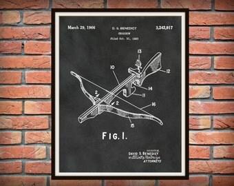 Patent 1966 Crossbow - Art Print - Poster - Hunting - Weapon - Man Cave Wall Art - Medieval Art - Robin Hood Wall Art