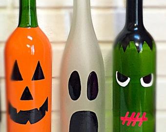 Halloween Decor, Halloween Wine Bottle Decor, Halloween Decorations, Pumpkin, Ghost, Frankenstein, Halloween Gifts, Halloween Wine Bottles