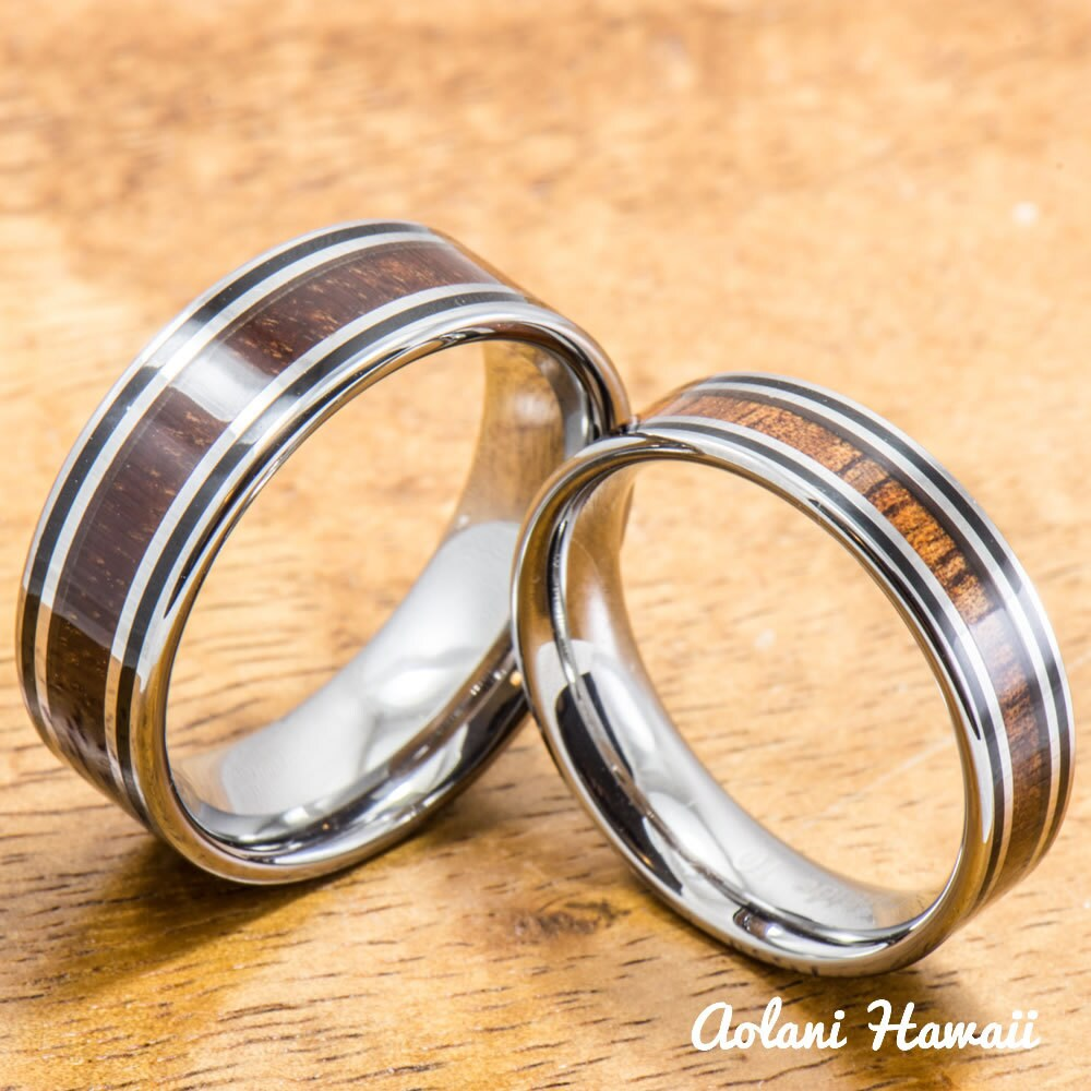 Tungsten wedding ring set with hawaiian koa wood by for Hawaiian wedding ring sets