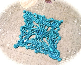 Turquoise Lace Applique with Faux Rhinestones Trims BA-127