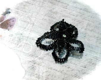Black Beaded Flower Floral Embellishment Millinery FL-125