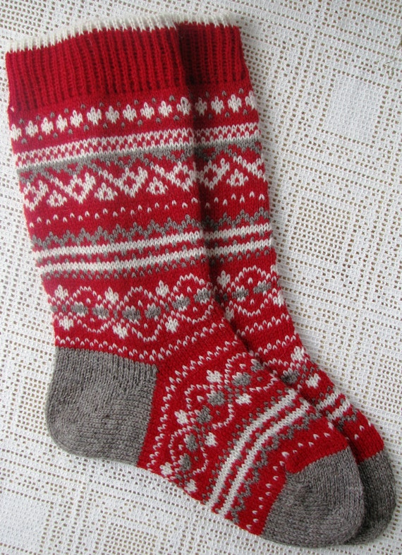 Knitting Pattern Wool Socks : knit socks Wool socks Christmas gift Norwegian Christmas