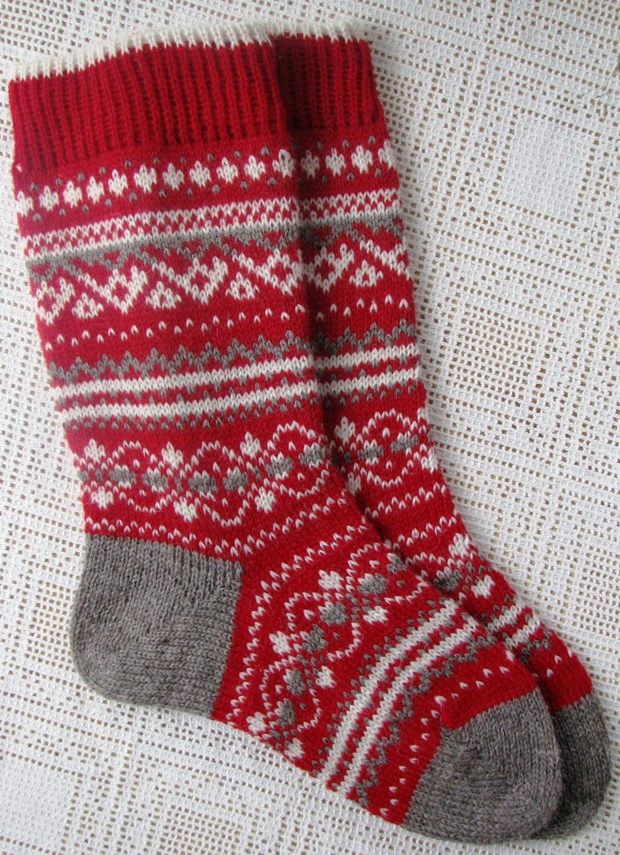 knit socks Wool socks Christmas gift Norwegian Christmas