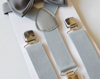 Gray Suspenders & Gray Bow Tie -- Ring Bearer Outfit -- Grooms Bow Tie Suspenders. SHIPS FAST!**