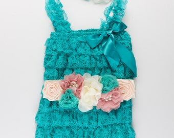 3 piece Petti Lace Romper set, Birthday Outfit, Lace baby romper, Baby girl romper, Cake Smash Outfit