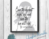 Even the darkest night, Les Miserables, Victor Hugo, You only live once, Wall Art, Dorm Art, Instant Download