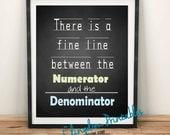 Numerator and denominator, math teacher,  dorm art, Wall Art, Dorm Art, Instant Download