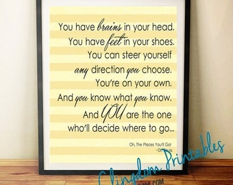 Dr Seuss, You have brains in your head and feet in your shoes, Wall Art, kids art, classroom Art, Instant Download