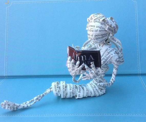 Book sculpture, paper sculpture, book art, Tolstoy, Anna Karenina, librarian, bookseller, book, desk accessory, figurine