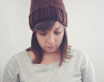 Chunky Knit Slouchy Hat Toque | Pom-Pom | CHOCOLATE | Ready to Ship