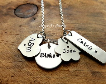 Hand Stamped Jewelry-Family Necklace-Personalized Mothers Jumble Necklace-Different Shapes Jewelry-Gift For Her-Bundle of Charms Necklace